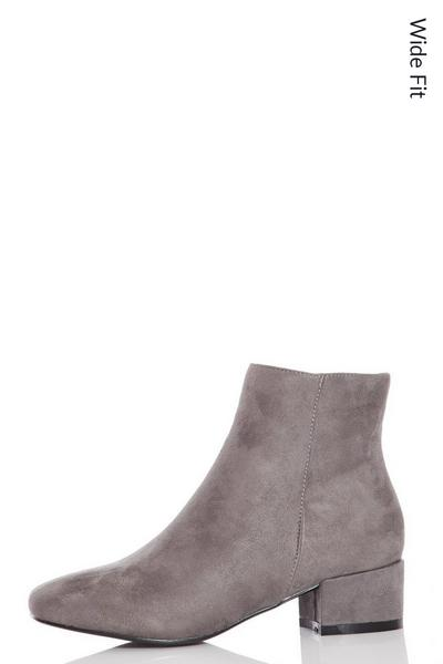 Wide Fit Grey Block Heel Ankle Boots